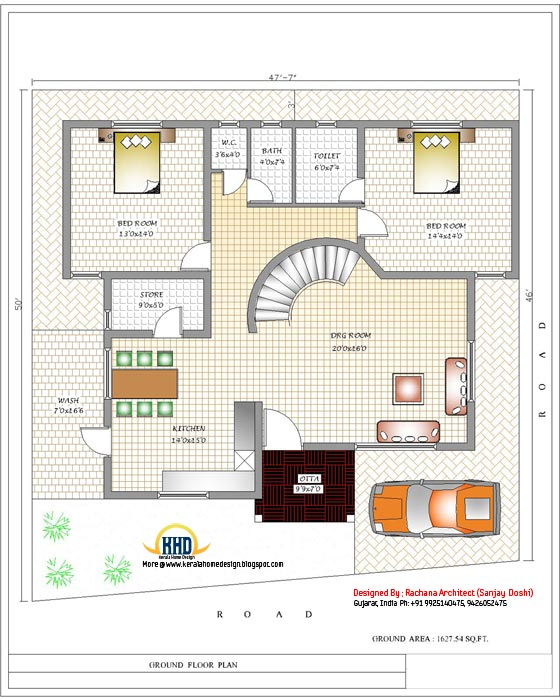 India house plan - Ground floor plan - 3200 Sq.Ft.