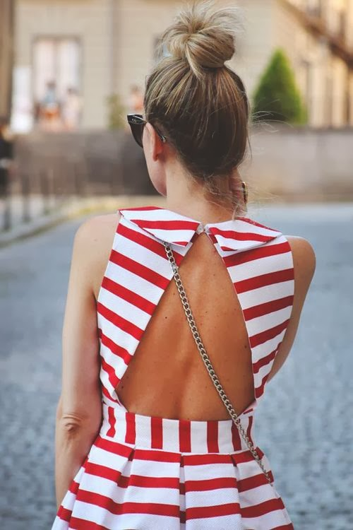 Open Back Red And White Stripes Dress