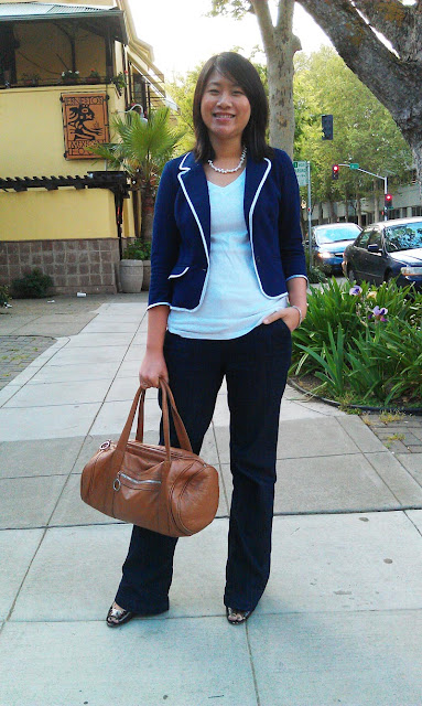 sacramento office fashion blogger angeline evans business casual friday the new professional blog agaci blazer merona trouser jeans gap t-shirt enzo angiolini maylie pumps hm leather duffel