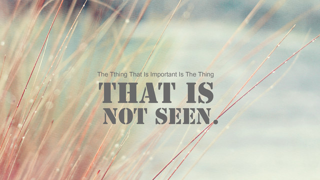 the thing that is important  is the thing that is not seen.