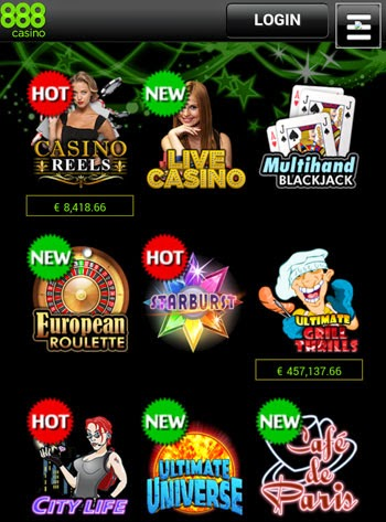 888 Casino Mobile App Main Screen