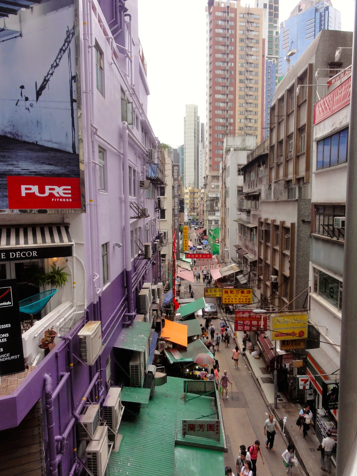 Hong Kong City Viewed from Central Mid Level Escalator