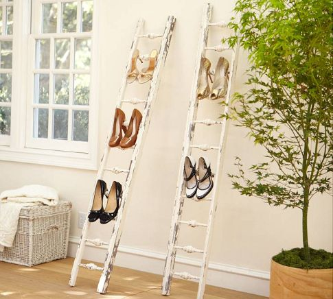 dishfunctional designs old ladders repurposed as home decor. Black Bedroom Furniture Sets. Home Design Ideas
