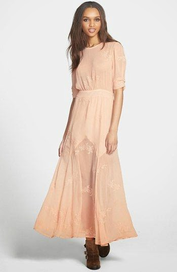 Nordstrom Pink Embroidered Maxi Dress - Affordable Pink Wedding Dresses