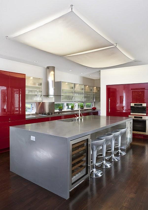 Crvena boja za kuhinje sa stavom ~ Uređenje kuća i dvorišta
