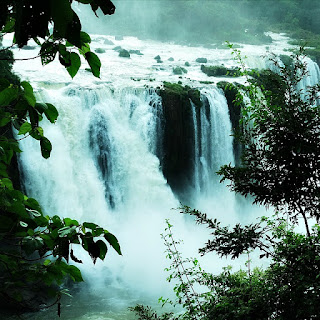 Parque Nacional do Iguaçu, Foz do Iguaçu. Vista de queda d'água em meio à vegetação.