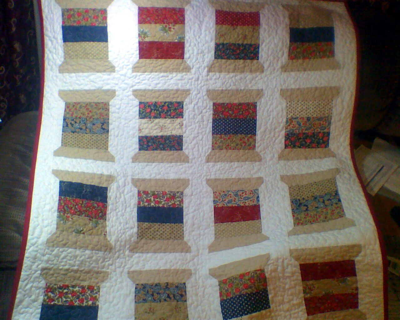 Quilting Thread Patterns : AddictedToNeedleAndThread: Thimble Blossoms Spool Quilt finished