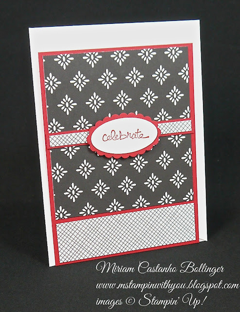 Miriam Castanho Bollinger, #mstampinwithyou, stampin up, demonstrator, dsc, birthday card, everyday chic dsp, good greetings stamp set, large oval punch, scallop oval punch, su