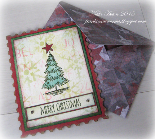 for my second project of the month i have made a christmas card using tim holtz scribbly christmas stamp set and kraft core card stock