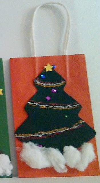 Christmas Tree Gift Bag Craft Idea