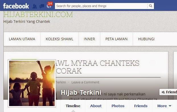 Facebook, fanpage, hijab terkini, shawl chantek menawan, iklan di facebook