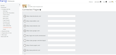 Bing Webmaster Connected Social Pages to Website