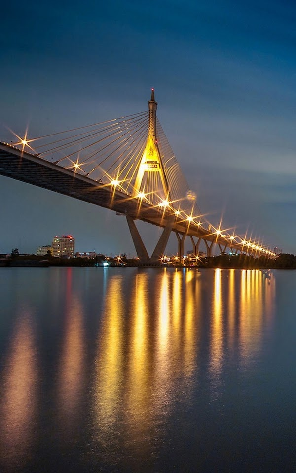 Light Reflection Bridge At Night  Galaxy Note HD Wallpaper