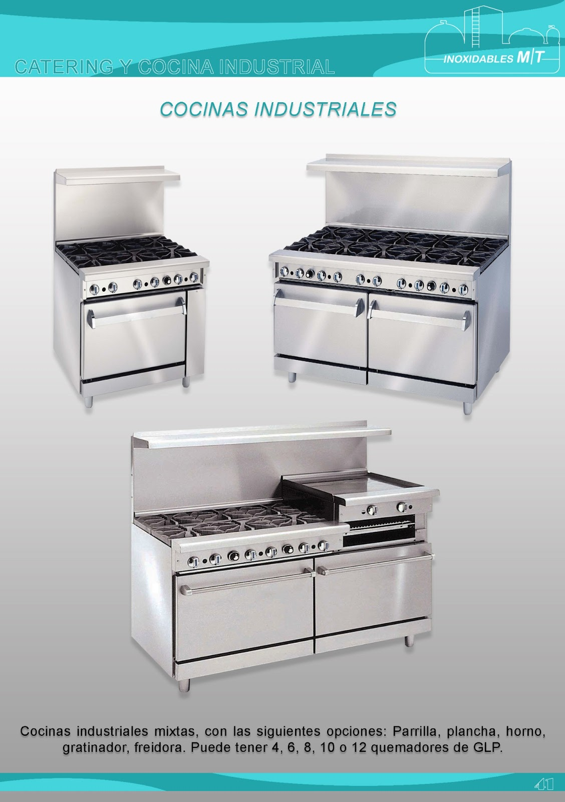 Inoxidables mt equipos para catering y cocina industrial for Planchas de cocina industriales de segunda mano