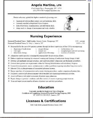 nurse sample resume