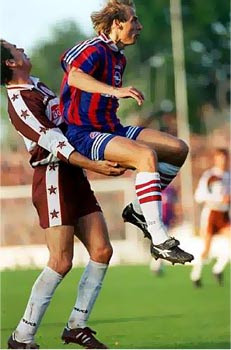 Funny photo, soccer duel