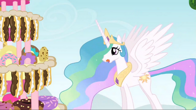 Princess Celestia before Hurricane Pinkie Pie strikes the cake