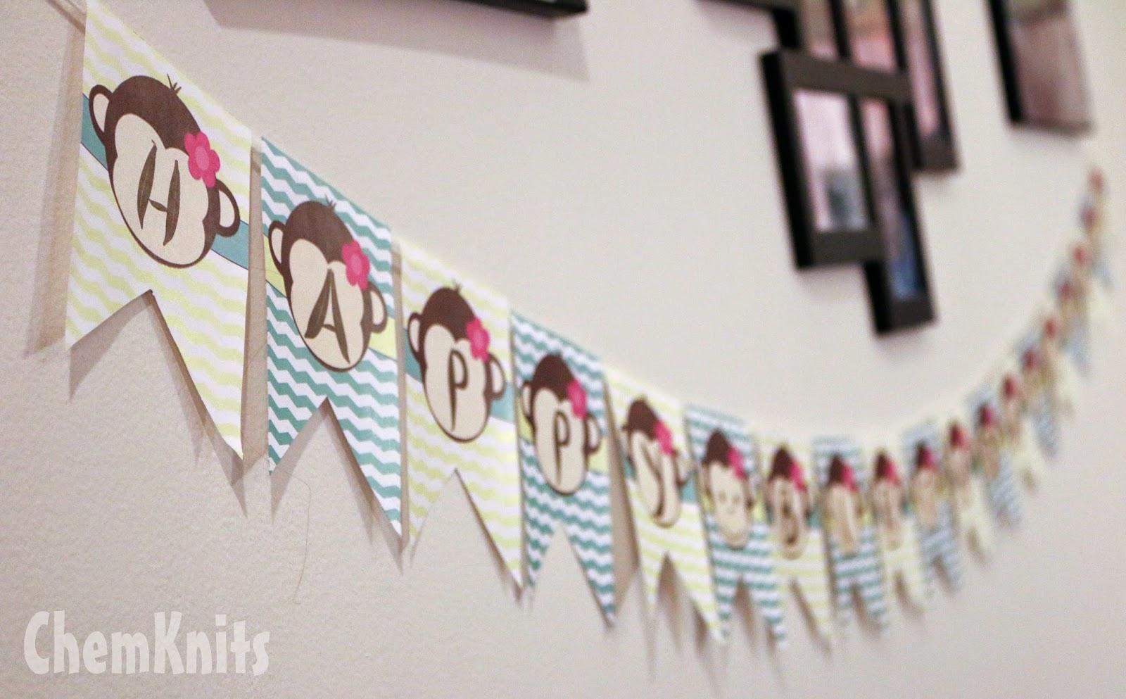 Printable Birthday Banner ~ Chemknits: monkey chevron birthday banner free printable!