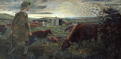 Evelyn Dunbar - A Land Girl and the Bail Bull