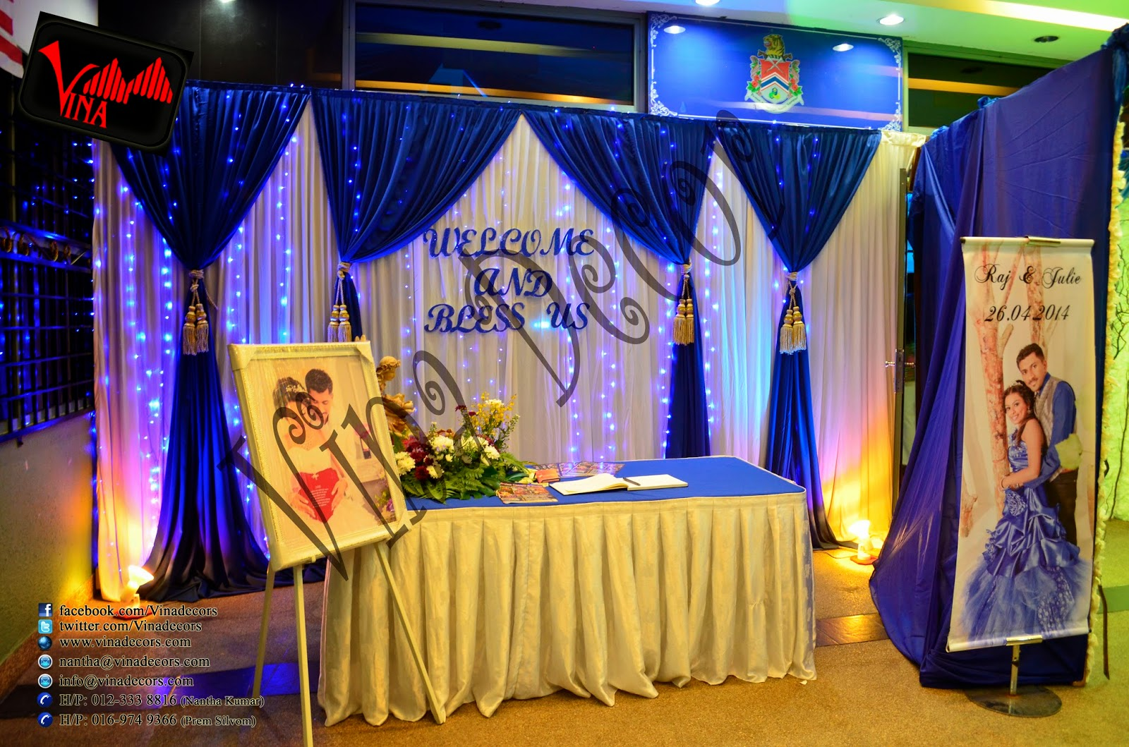 A Truly Magical Winter Wedding Dinner Concept at Pusat Komuniti Setul Perdana, Jalan 2/48A, Sentul Perdana, Bandar Baru Sentul Perdana, Kuala Lumpur on Saturday 26/04/2014 7PM (Entrance Decor with cloth, lighting, and dry stam, Walk way pillar (tree 11 feet tall) enhanced with white leafs and hanging crystal, Walk way arch / dome with hanging crystal and dry stam, main table setting, stage setting, photography section custom design as per couple request, table and chair, and projector screen 10 x 10 feet.
