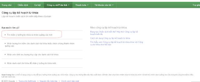 Trang chủ Google Keyword Planner