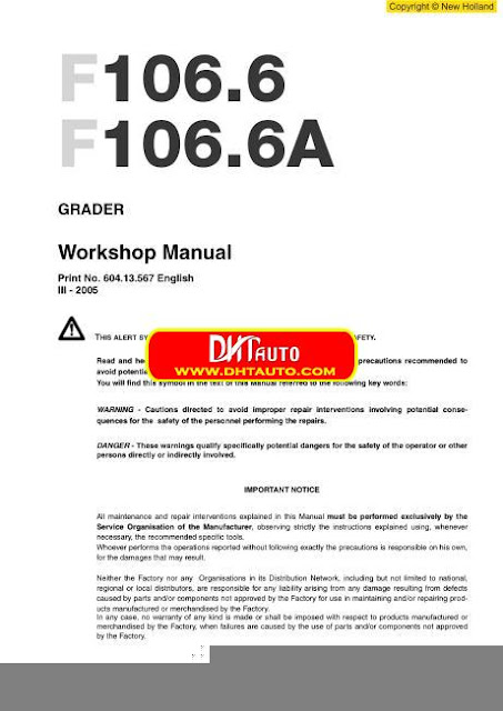 Free Automotive Manuals: New Holland Grader F106.6-F106.6A-EN ...