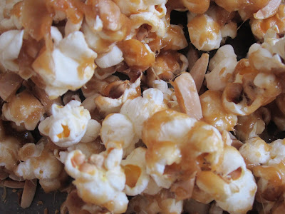 Caramel almond popcorn recipe