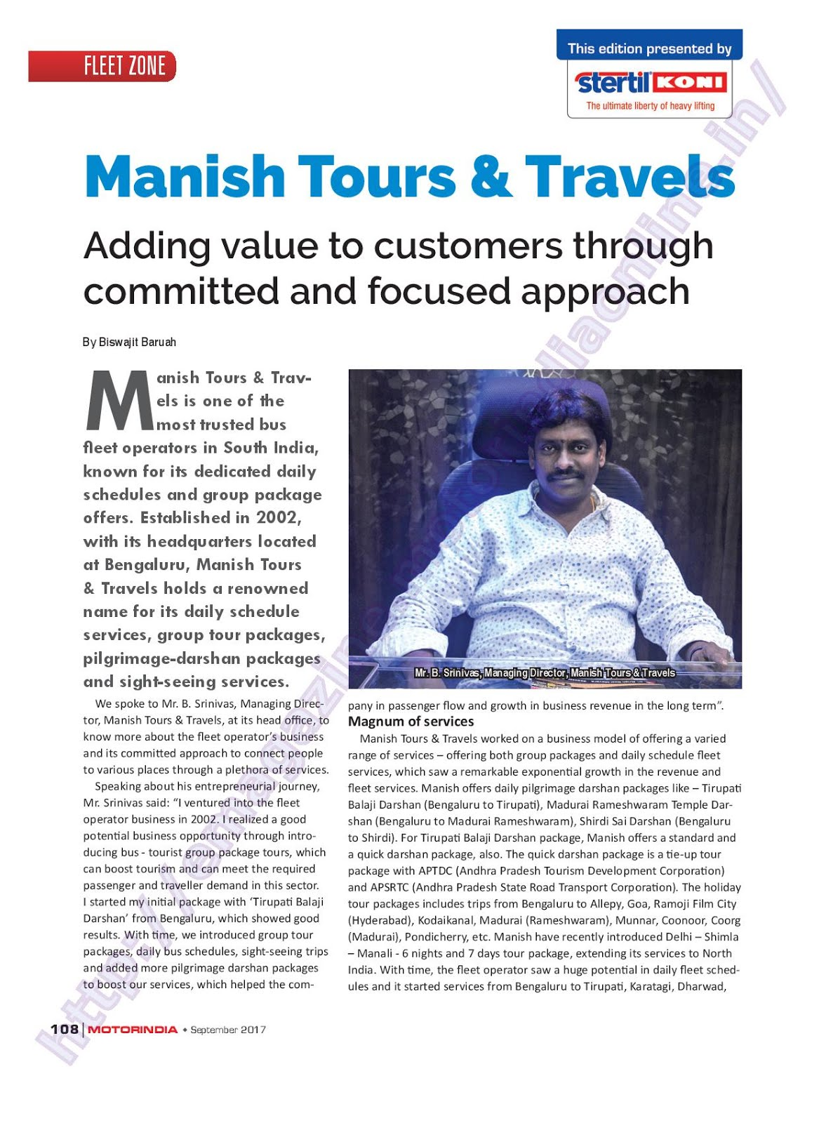 MOTOR INDIA ARTICLE 17 : MANISH TOURS AND TRAVELS