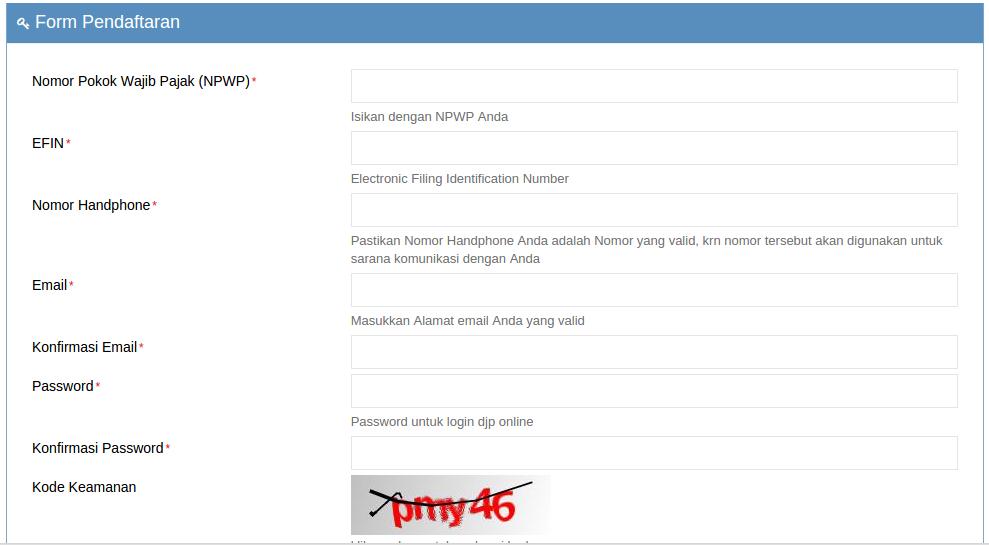 form registrasi akun spt online