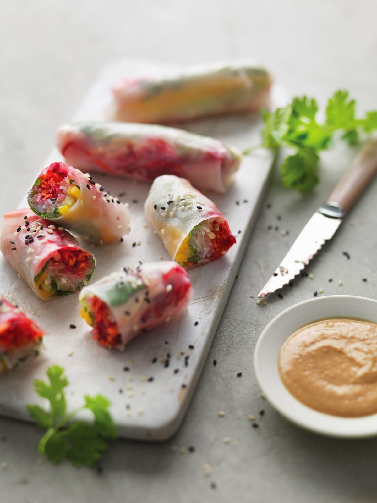 Mango Summer Rolls With spicy peanut sauce
