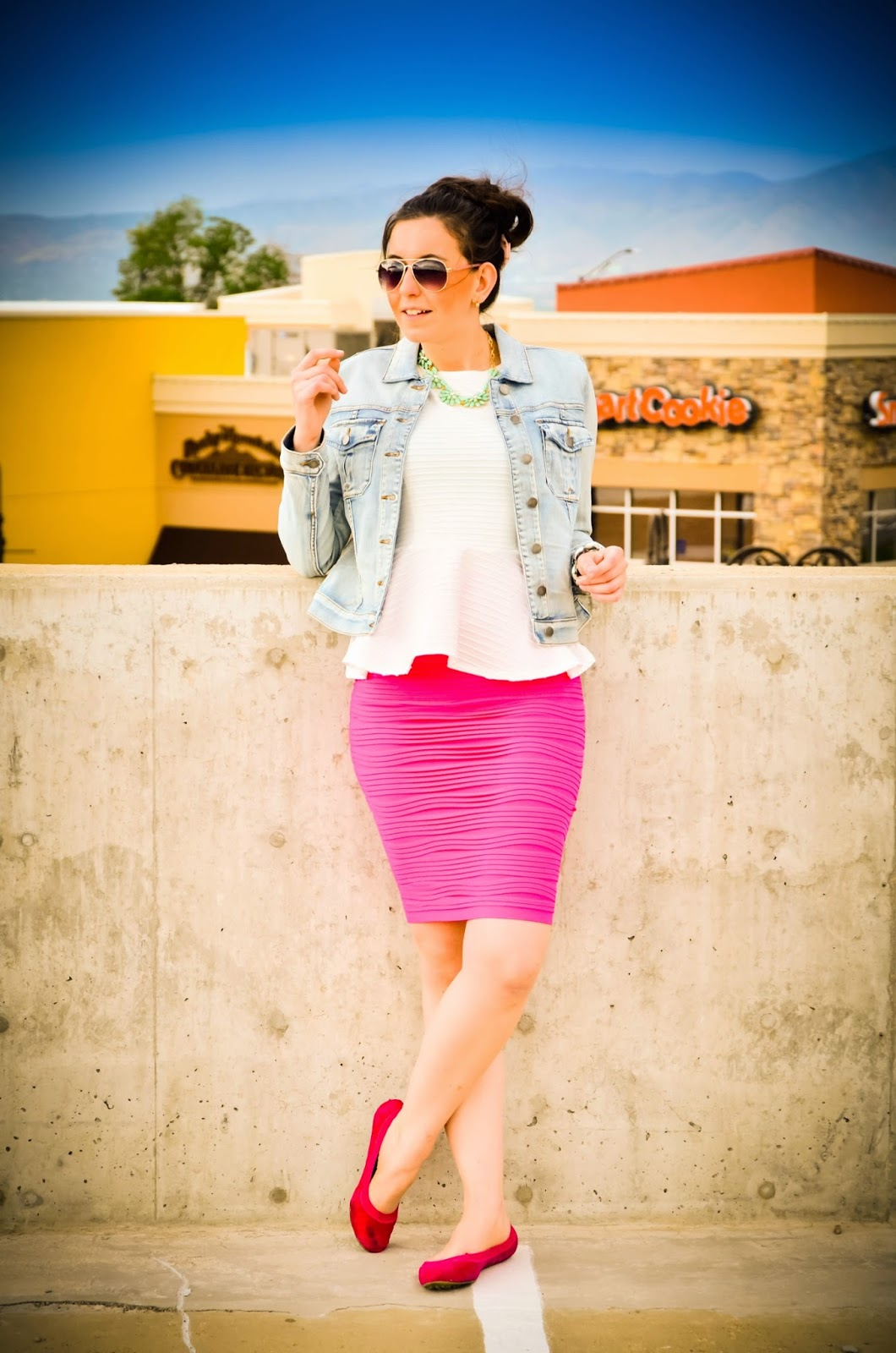 casual attire, casual outfit, giveaway, charlotte russe, malibu jane flats, msc, my sisters closet, my sisters closet giveaway, peplum top, pink skirt, edward eliason photography, pretty, skirt, skirt giveaway, textured skirt,