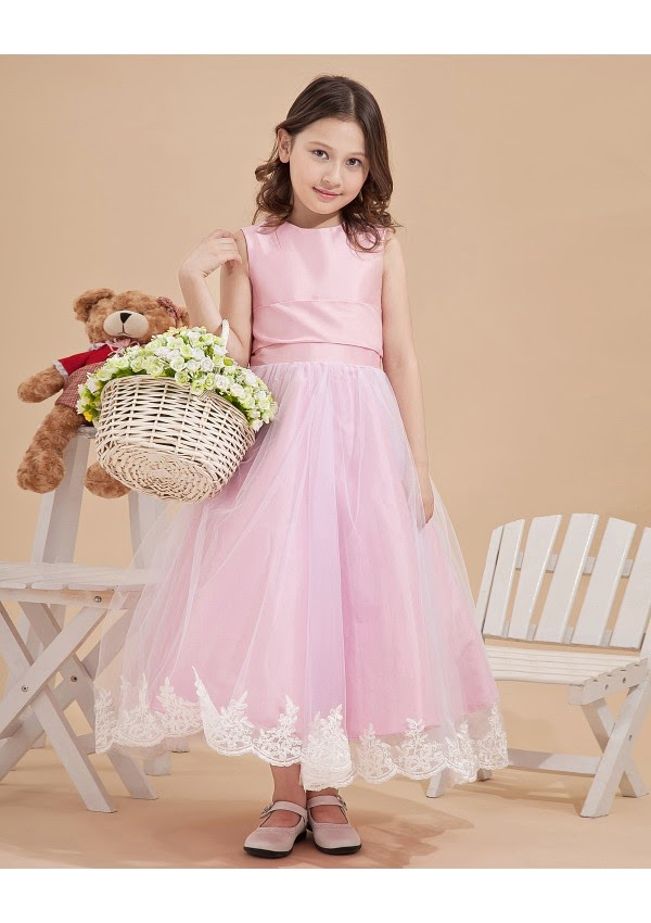 Vintage Bateau Sleeveless Flower Girl Dresses