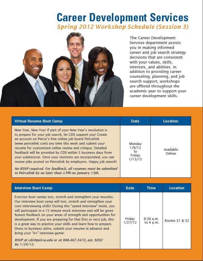 New career development services workshops for spring 2012 for Resume development services