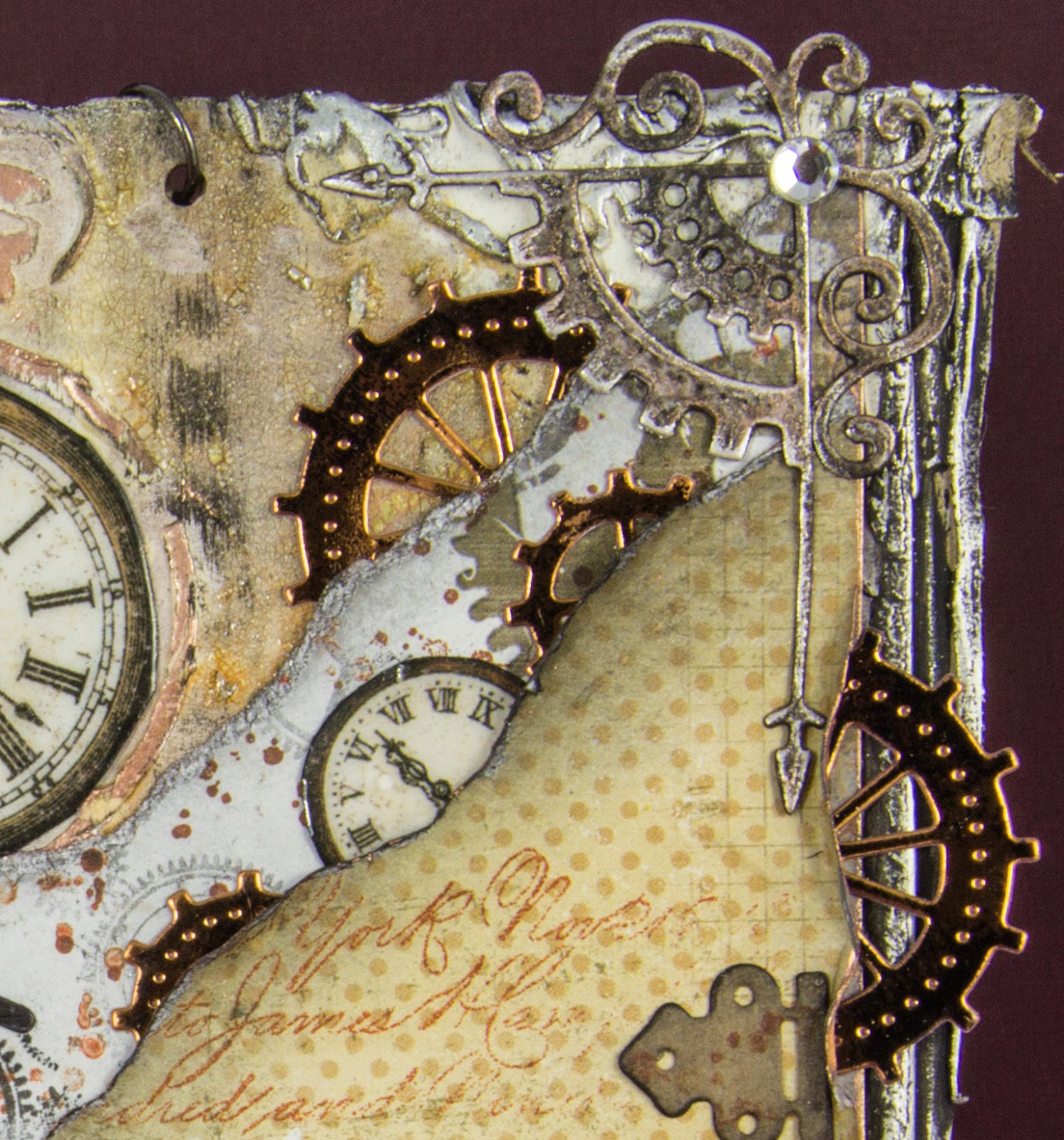 juliz design post industrial revolution i fussy cut out various clocks from my bobunny timepiece collection and stamped a couple then gave them a coat of glossy accents and layered them on to my