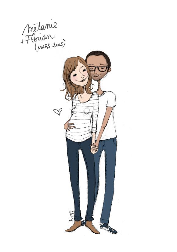 © Clemz Clémentine Achat illustration personnalisée, cadeau, dessin, couple