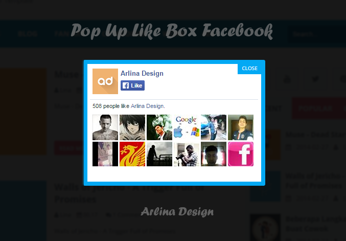 Cara Menambahkan Pop Up Like Box Facebook