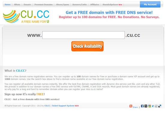Free domain CU.CC