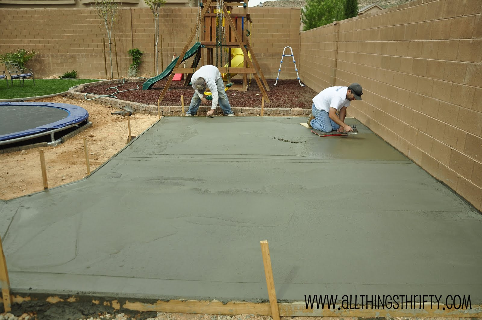 Concrete patio project backyard landscaping update - Concrete backyard design ...