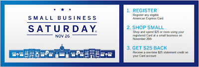 $25 American Express credit for Small Business Saturday