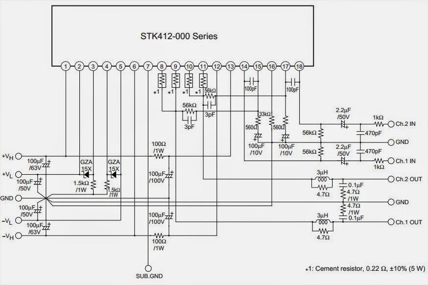 amplifiercircuits com  stk amplifier