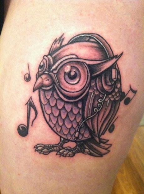 owl tattoo design simple hair