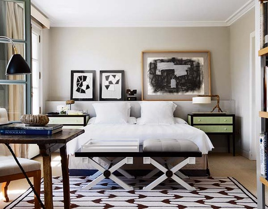 geometric  masculine bedroom  tailored bedding  warm interiors  art in the  bedroom. Twine  Masculine Bedrooms