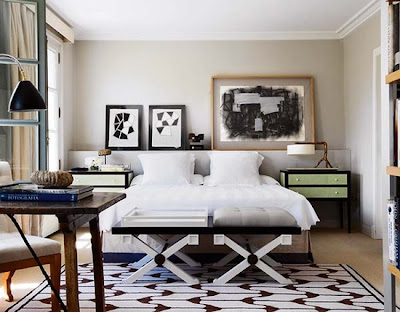geometric, masculine bedroom, tailored bedding, warm interiors, art in the bedroom