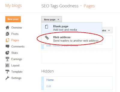 Adding a Blogger web link page