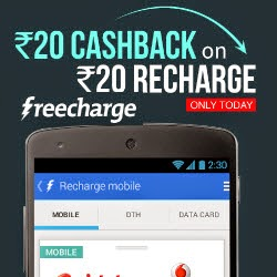Rs. 20 cashback on Rs.20 Recharge || Freecharge