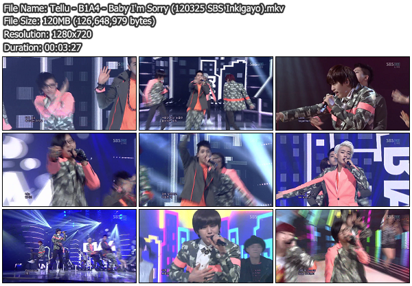 [Perf] B1A4   Baby Im Sorry @ SBS Inkigayo 120325