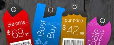Price Tags in 8 Shapes & 6 Color Styles