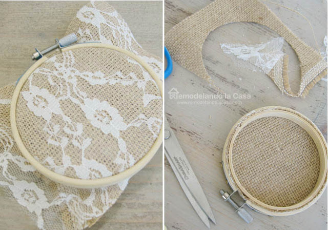 placing fabric on bamboo embroidery hoop and trimming excess with scissors