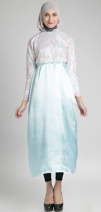 Model Baju Dress Muslim Biru