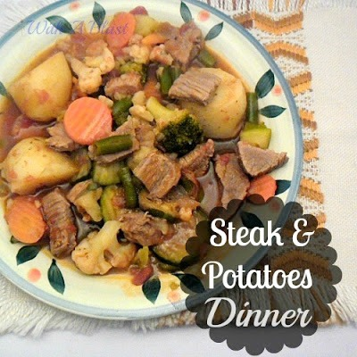 Steak and Potatoes Dinner {One-Pot} ~ One-Pot Dinner to make in your #SlowCooker / #PressureCooker / #Stovetop ~ all times given #OnePotDinner